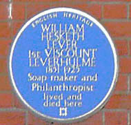 Blue plaque to Lord Leverhulme